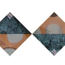 Blue Space // Technique mixte et collage sur bois // 4 panneaux de 40 x 40 cm