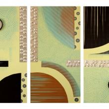 Eclipse Acoustique // Technique mixte et collage sur bois // 3 panneaux de 40 x 80 cm