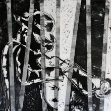Jazzman // technique mixte et collage sur toile // 100 x 100 cm