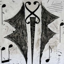 Le Gentleman Musical // Technique mixte et collage sur bois // 80 x80 cm