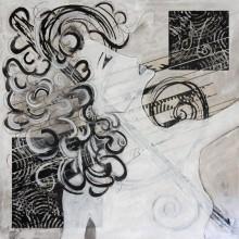 Mélodie // technique mixte et collage sur bois // 80 x80 cm