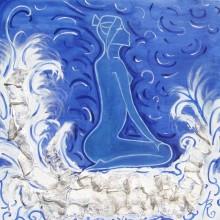 La Naïade // Huile et collage sur toile // 100 x 100 cm