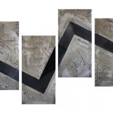 Black Blitz // Technique mixte et collage sur bois // 4 panneaux de 40 x 80 cm