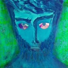 Blue Hipster // technique mixte et collage sur toile 3D // 80 x 80 cm