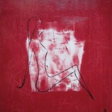 La rêveuse // Technique mixte sur bois // 100 x 100 cm