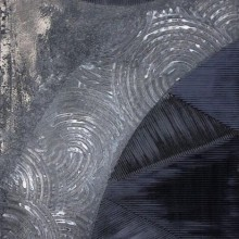 Pluie sur Paris // Technique mixte et collage sur bois // 40 x 80 cm