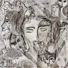 Requiem // Technique mixte et collage sur bois // 80 x 80 cm