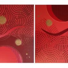 Volupté // Technique mixte et collage sur bois // 2 panneaux de 40 x 40 cm