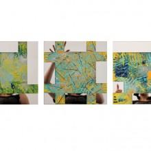 Module 2 // Technique mixte et collage de miroirs sur toile// 3 toiles de 30 x 30 cm